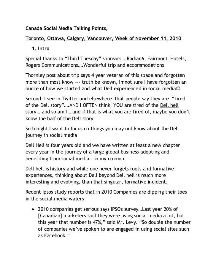 Canada Social Media Talking Points, <br />Toronto, Ottawa, Calgary, Vancouver, Week of November 11, 2010 <br /><ul><li>Int...