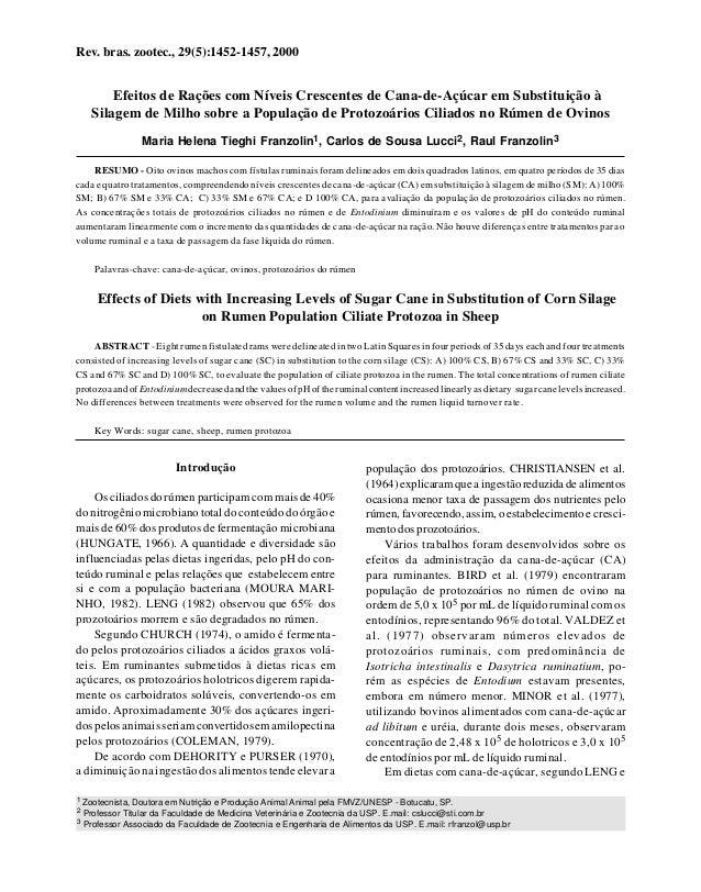Rev. bras. zootec., 29(5):1452-1457, 2000        Efeitos de Rações com Níveis Crescentes de Cana-de-Açúcar em Substituição...