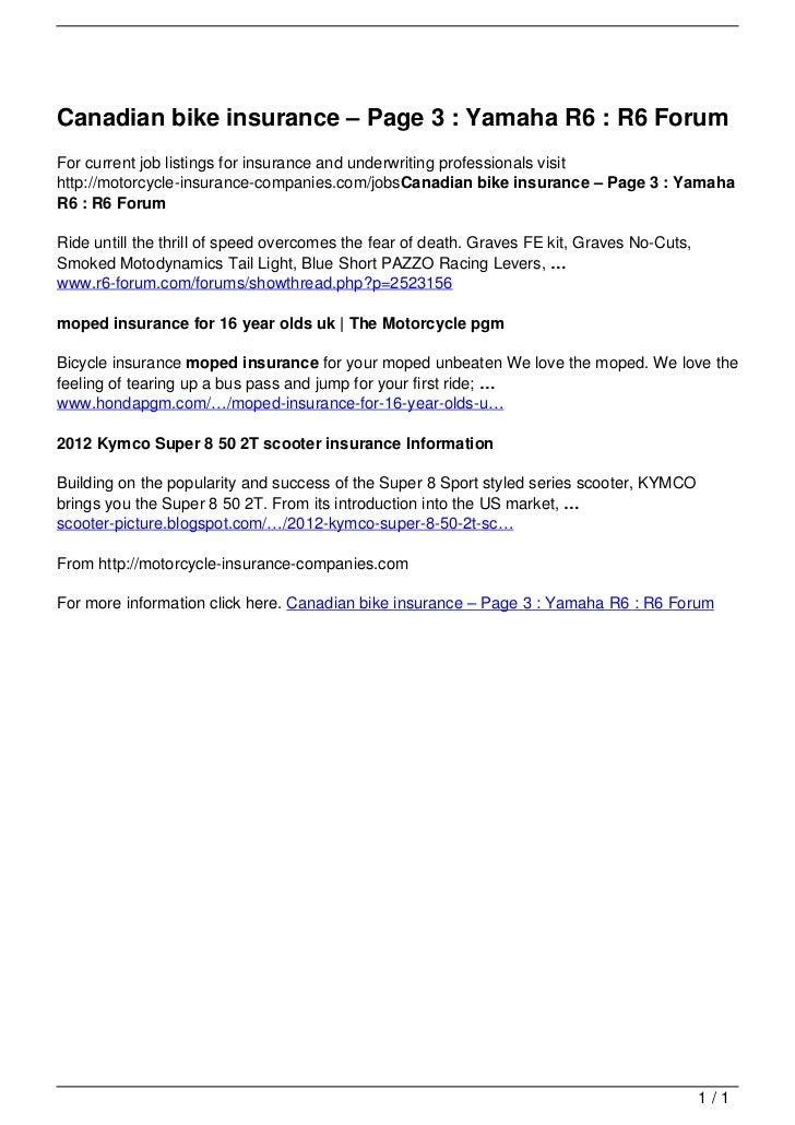 Canadian Bike Insurance Page 3 Yamaha R6 R6 Forum