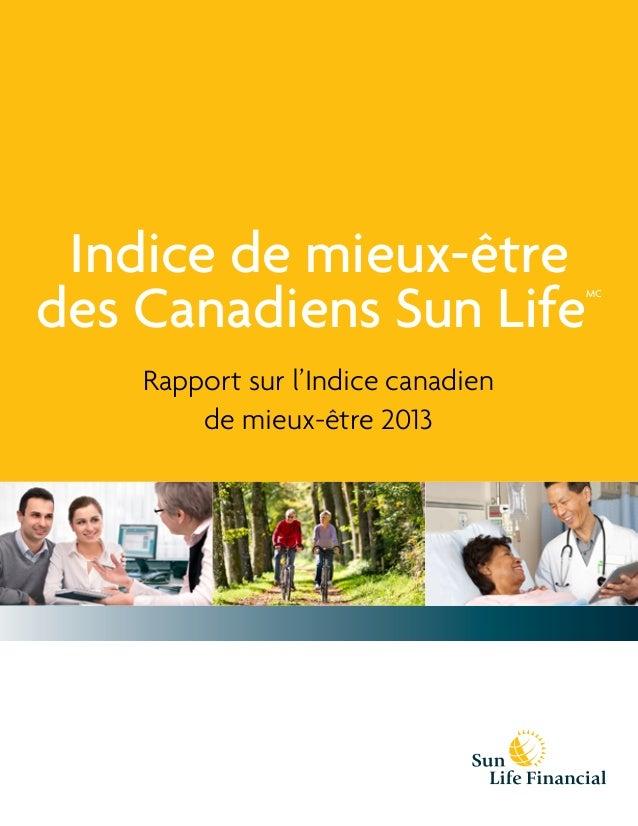 Indice de mieux-être des Canadiens Sun Life Rapport sur l'Indice canadien de mieux-être 2013  FPO Stock Picture(s)  MC