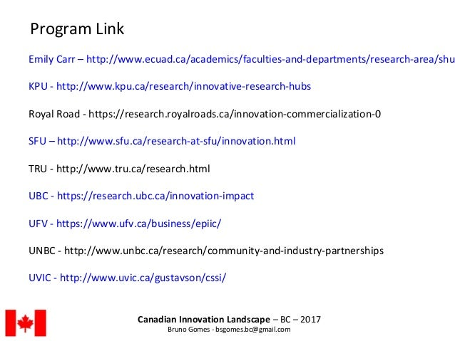 Canadian Innovation Landscape – BC – 2017 Bruno Gomes - bsgomes.bc@gmail.com Emily Carr – http://www.ecuad.ca/academics/fa...