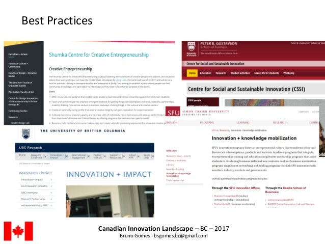 Canadian Innovation Landscape – BC – 2017 Bruno Gomes - bsgomes.bc@gmail.com Best Practices