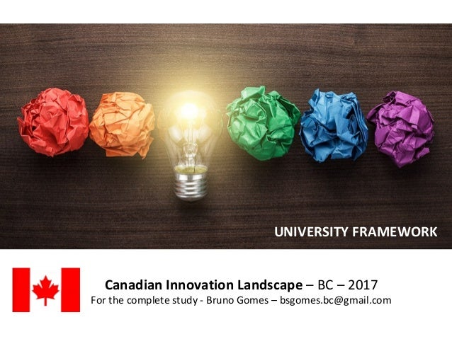 Canadian Innovation Landscape – BC – 2017 For the complete study - Bruno Gomes – bsgomes.bc@gmail.com UNIVERSITY FRAMEWORK