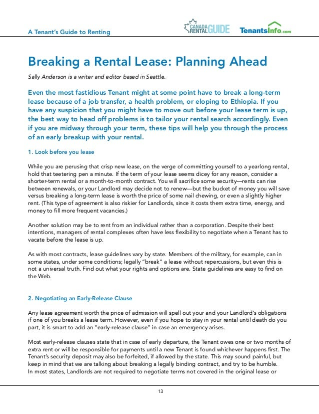 Canada Rental Guide - Canadian Tenants Guide (july 2013)