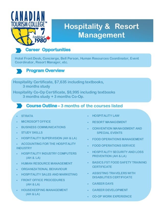 Canadian Tourism College Hrm Certificates