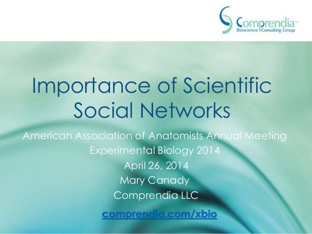 Importance of Scientific Social Networks American Association of Anatomists Annual Meeting Experimental Biology 2014 April...