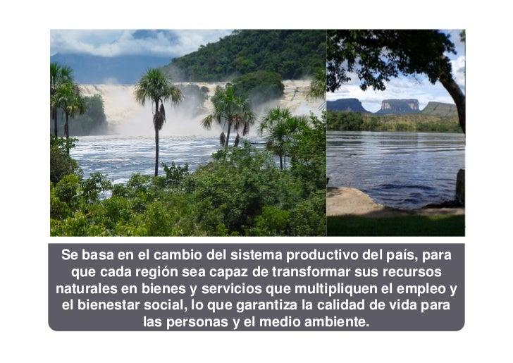 Se basa en el cambio del sistema productivo del país, para  que cada región sea capaz de transformar sus recursosnaturales...
