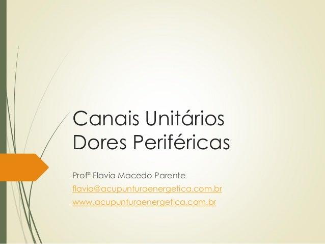 Canais Unitários Dores Periféricas Profª Flavia Macedo Parente flavia@acupunturaenergetica.com.br www.acupunturaenergetica...