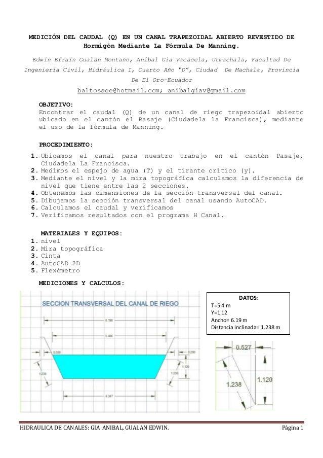 calculo de caudal formula de manning canal hidraulica