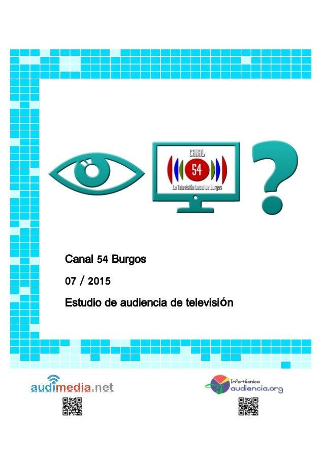 Canal 54 Burgos 07 / 2015 Estudio de audiencia de televisión