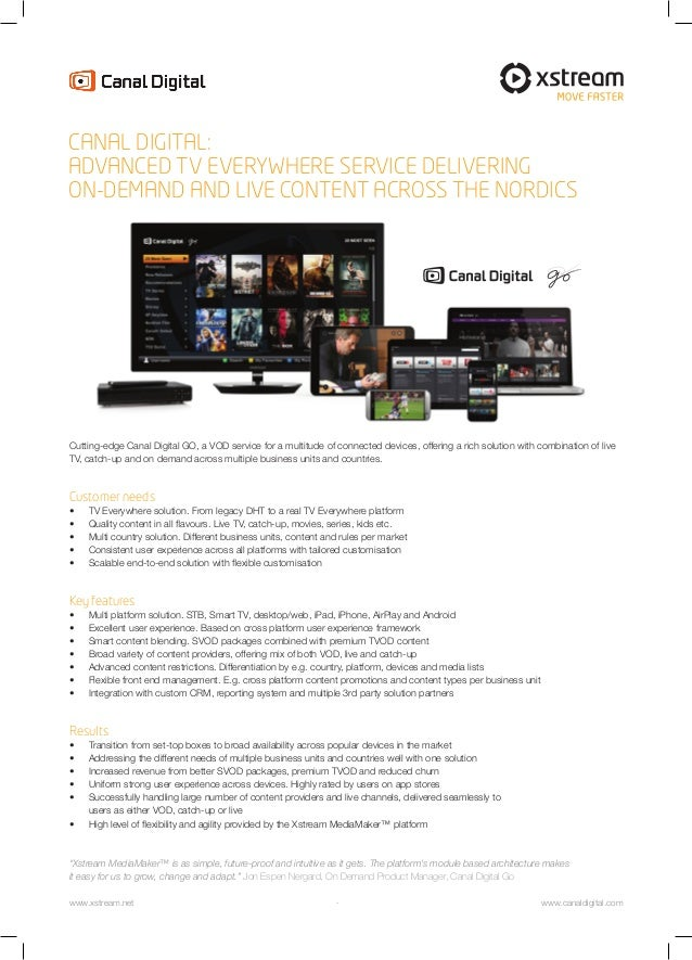 Cutting-edge Canal Digital GO, a VOD service for a multitude of connected devices, offering a rich solution with combinati...