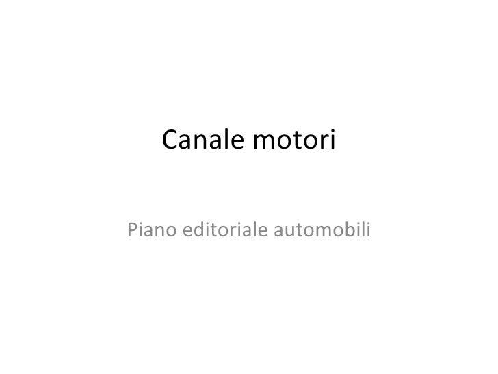Canale motori Piano editoriale automobili