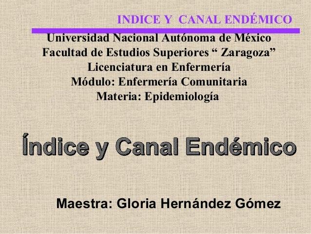 """INDICE Y CANAL ENDÉMICO Universidad Nacional Autónoma de México Facultad de Estudios Superiores """" Zaragoza"""" Licenciatura e..."""