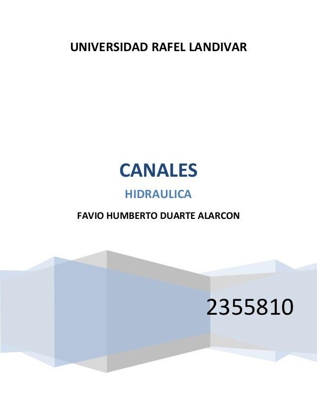 UNIVERSIDAD RAFEL LANDIVAR 2355810 CANALES HIDRAULICA FAVIO HUMBERTO DUARTE ALARCON