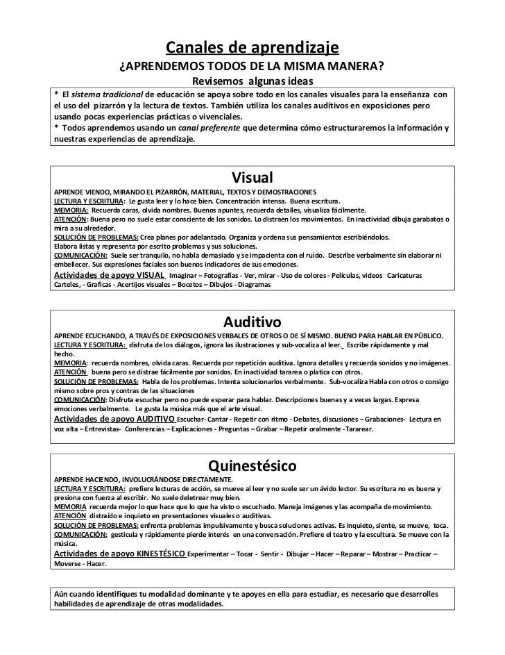Canales de aprendizaje                    ¿APRENDEMOS TODOS DE LA MISMA MANERA?                                           ...