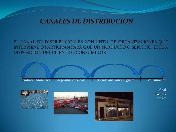 CANALES DE DISTRIBUCIONEL CANAL DE DISTRIBUCION ES CONJUNTO DE ORGANIZACIONES QUEINTERVIENE O PARTICIPAN PARA QUE UN PRODU...