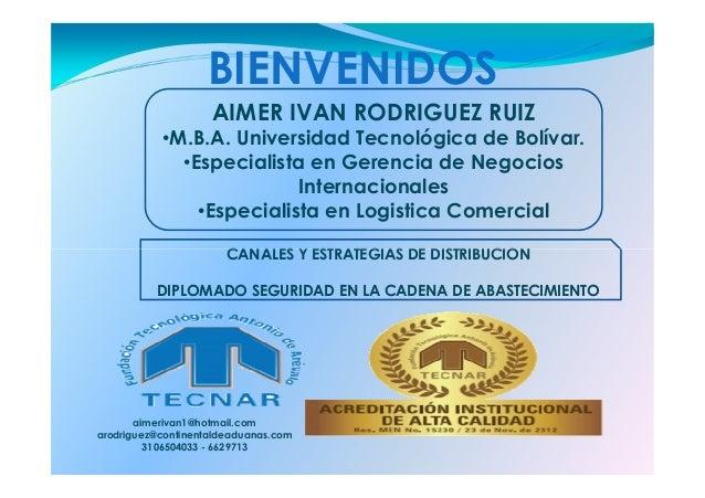 BIENVENIDOS AIMER IVAN RODRIGUEZ RUIZ •M.B.A. Universidad Tecnológica de Bolívar. •Especialista en Gerencia de Negocios In...
