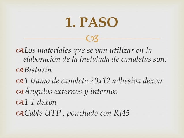  Los materiales que se van utilizar en la elaboración de la instalada de canaletas son: Bisturin 1 tramo de canaleta 2...