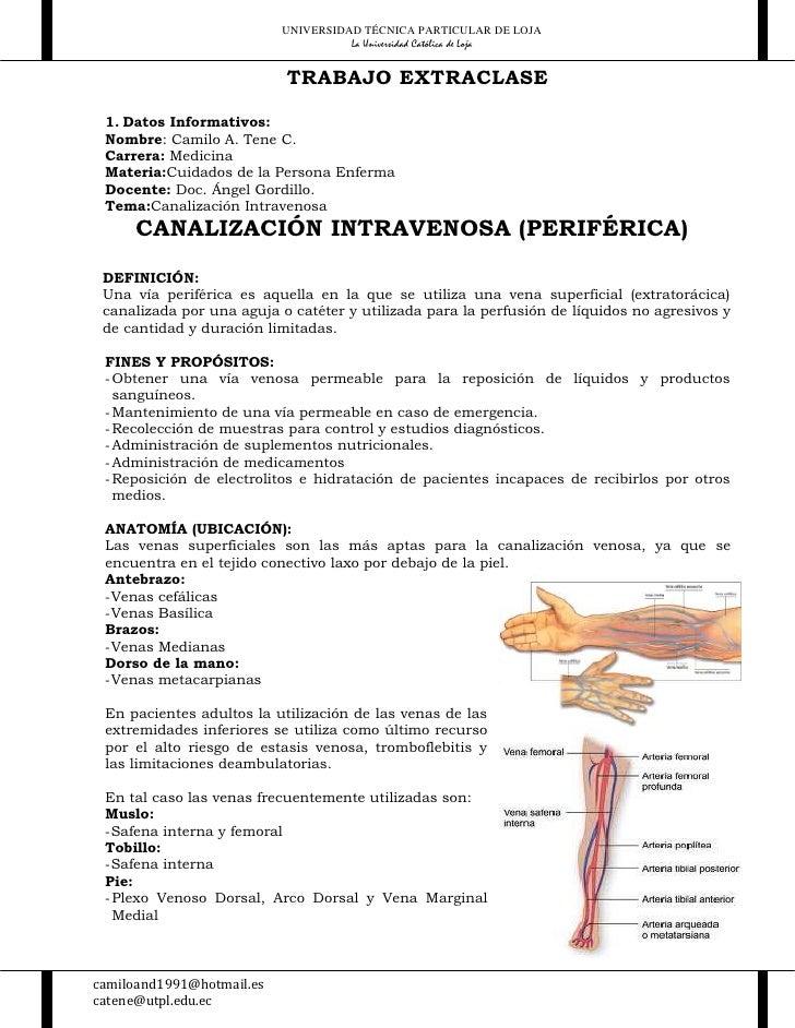 Canalizacion intravenosa [PERIFÉRICA]