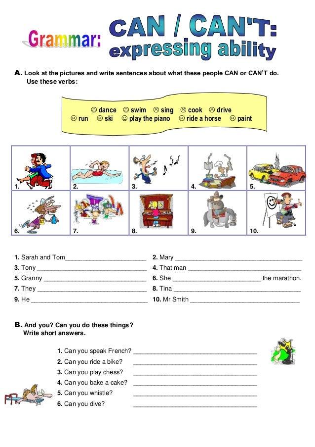 CAN - CAN'T | Atividades de ingles, Ingles para criancas ...