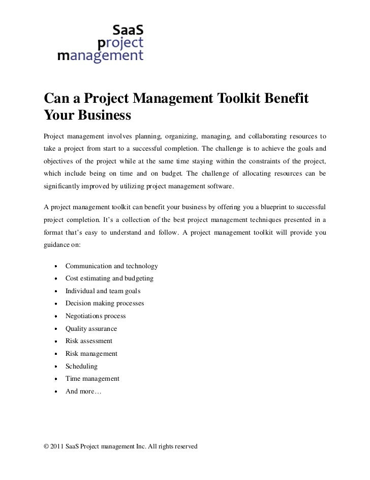 Can a Project Management Toolkit BenefitYour BusinessProject management involves planning, organizing, managing, and colla...