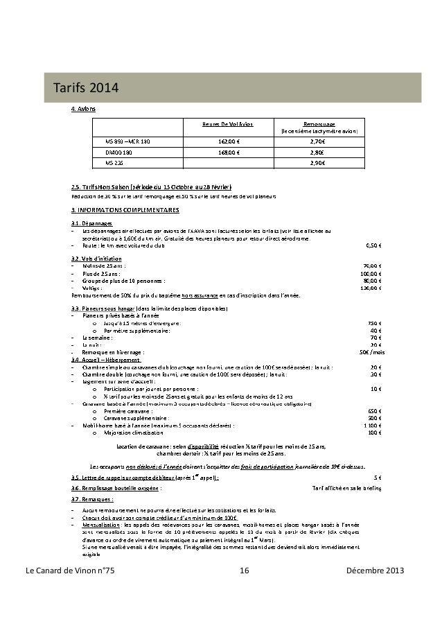 Tarifs 2014  Le Canard de Vinon n°75  16  Décembre 2013