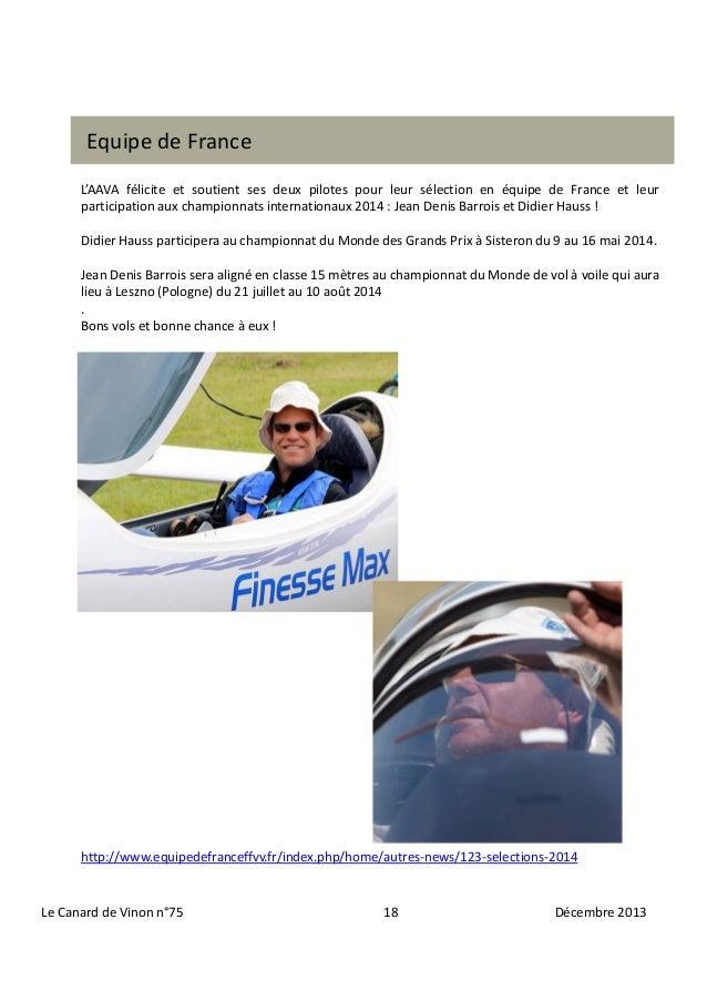 Equipe de France L'AAVA félicite et soutient ses deux pilotes pour leur sélection en équipe de France et leur participatio...