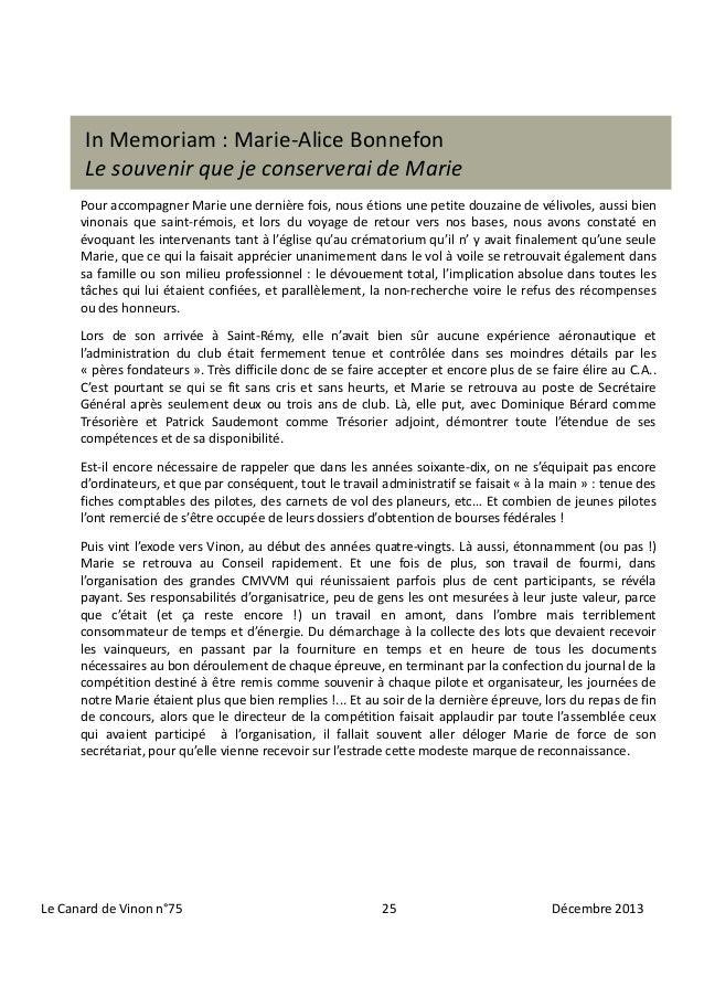 In Memoriam : Marie-Alice Bonnefon Le souvenir que je conserverai de Marie Pour accompagner Marie une dernière fois, nous ...