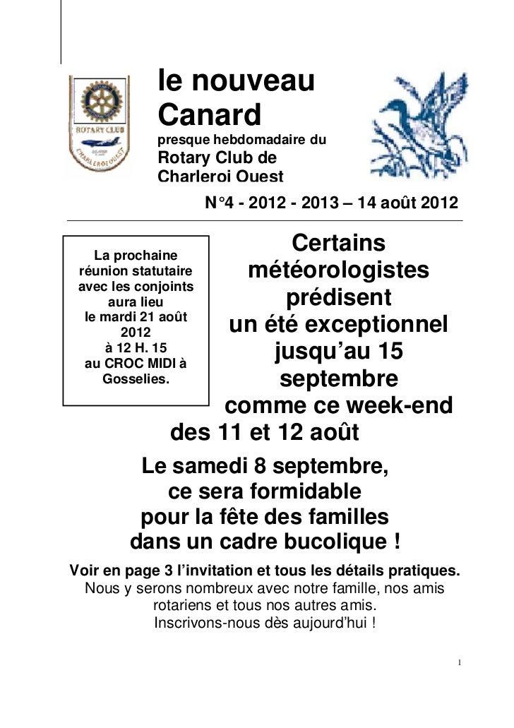 le nouveau             Canard             presque hebdomadaire du             Rotary Club de             Charleroi Ouest  ...