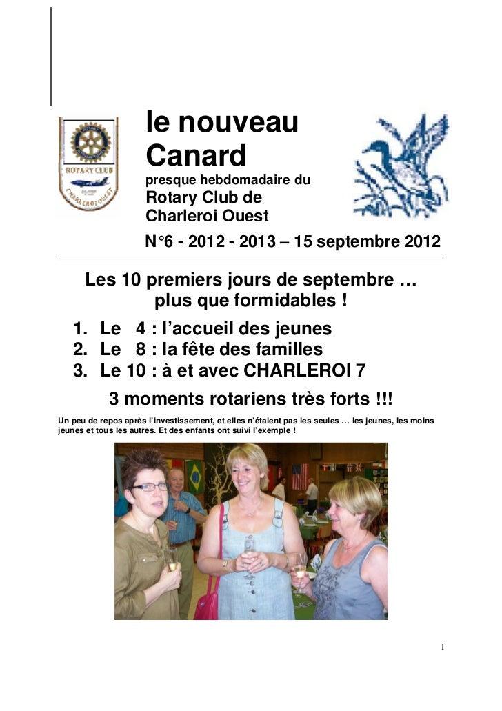 le nouveau                      Canard                      presque hebdomadaire du                      Rotary Club de   ...