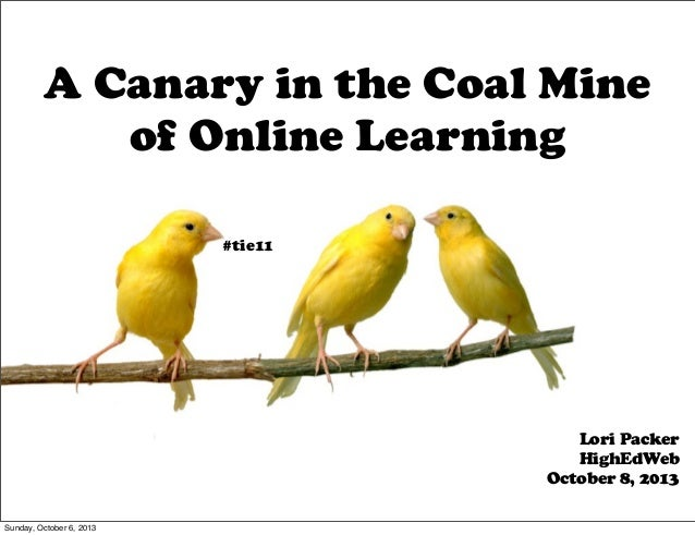 A Canary in the Coal Mine of Online Learning Lori Packer HighEdWeb October 8, 2013 #tie11 Sunday, October 6, 2013