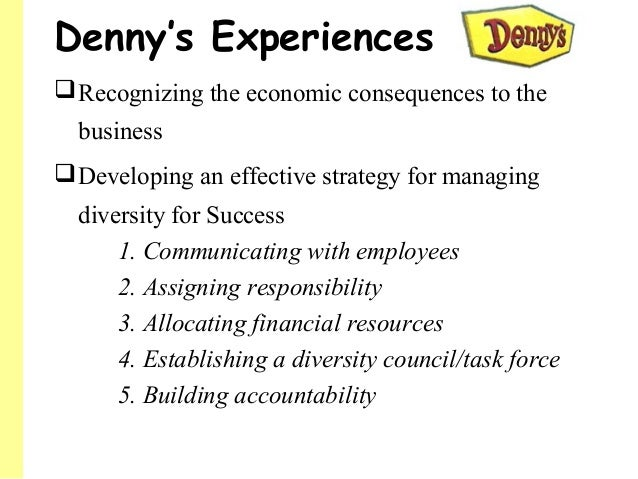 what are the key points to denny s turnaround with regard to diversity Diversity on the menu november 1 the tale of denny's diversity turnaround is a textbook example of how fast and far a company can progress with an aggressive strategy and strong marchioli points out that when the discrimination complaints against the company first surfaced in the.