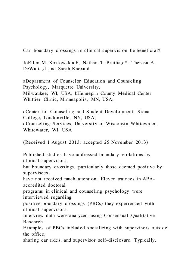 can boundary crossings in clinical supervision be beneficial 1 638