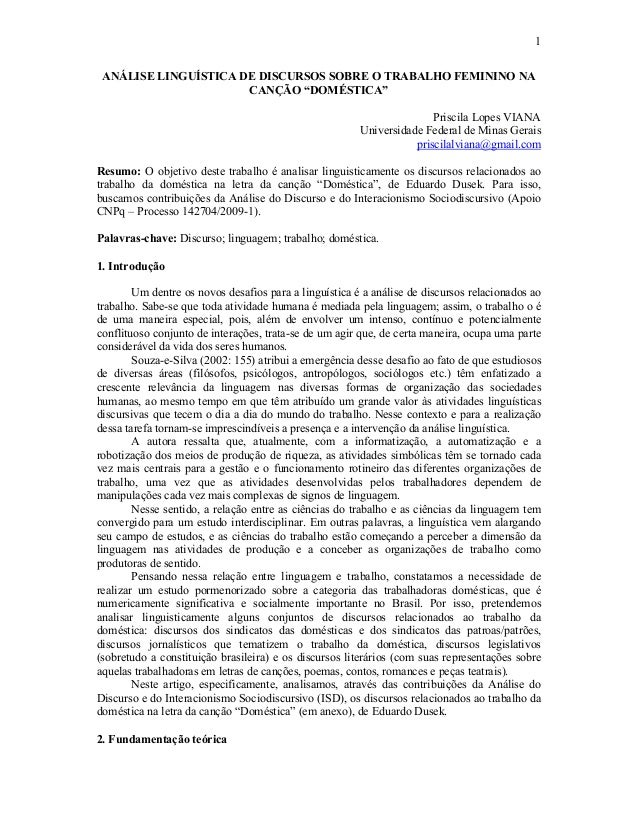 """1 ANÁLISE LINGUÍSTICA DE DISCURSOS SOBRE O TRABALHO FEMININO NA CANÇÃO """"DOMÉSTICA"""" Priscila Lopes VIANA Universidade Feder..."""