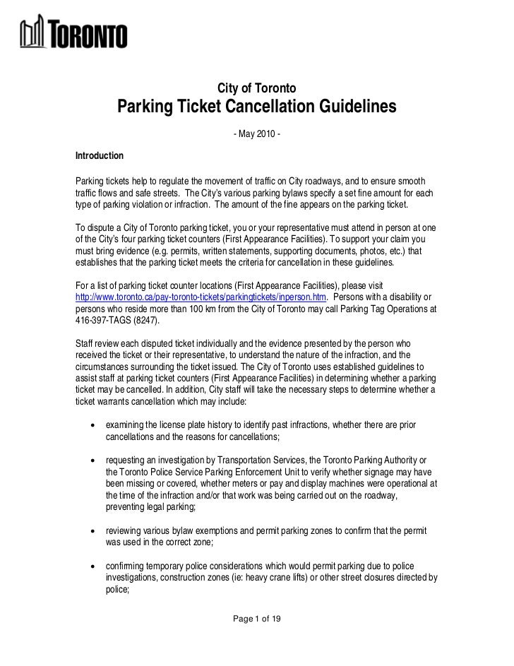 City of Toronto           Parking Ticket Cancellation Guidelines                                            - May 2010 -In...