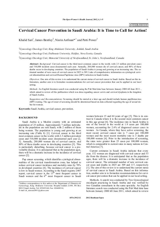 The Open Women's Health Journal, 2012, 6, 1-5 1 1874-2912/12 2012 Bentham Open Open Access Cervical Cancer Prevention in S...
