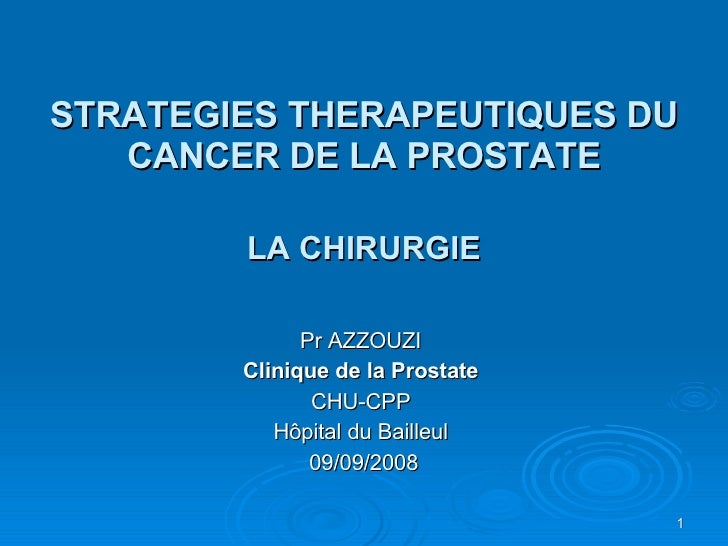STRATEGIES THERAPEUTIQUES DU CANCER DE LA PROSTATE LA CHIRURGIE Pr AZZOUZI Clinique de la Prostate CHU-CPP Hôpital du Bail...