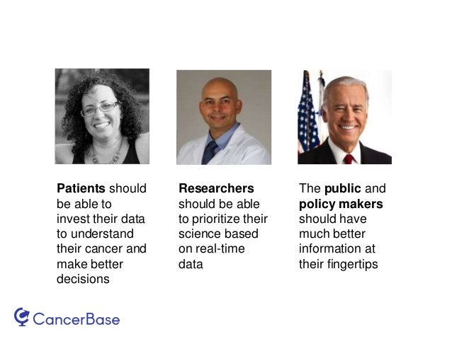 Patients should be able to invest their data to understand their cancer and make better decisions Researchers should be ab...