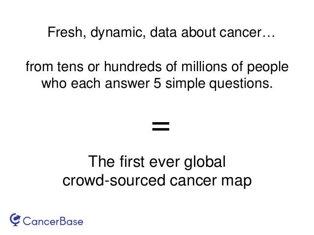 Fresh, dynamic, data about cancer… from tens or hundreds of millions of people who each answer 5 simple questions. The fir...