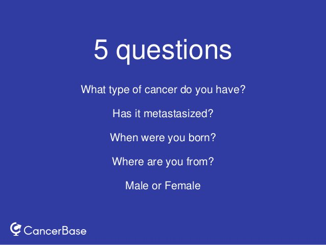 5 questions What type of cancer do you have? Has it metastasized? When were you born? Where are you from? Male or Female