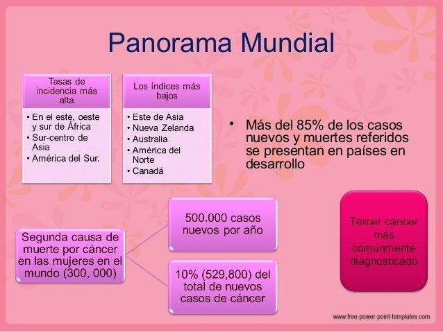 Panorama Mundial • Más del 85% de los casos nuevos y muertes referidos se presentan en países en desarrollo Tercer cáncer ...