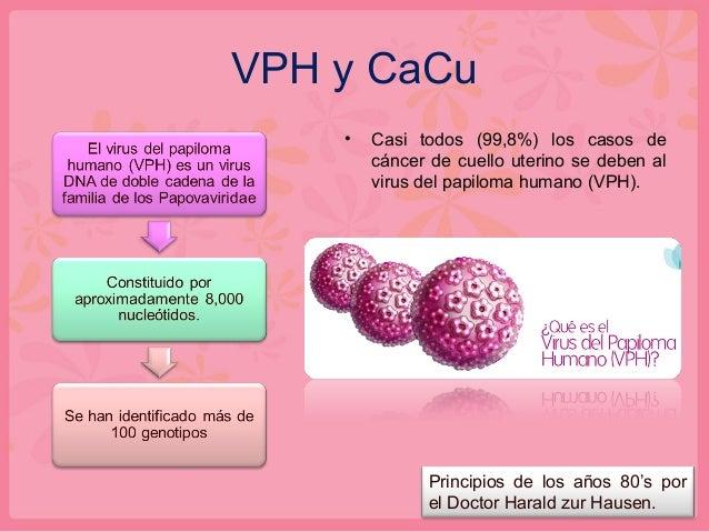 VPH y CaCu • Casi todos (99,8%) los casos de cáncer de cuello uterino se deben al virus del papiloma humano (VPH). Princip...