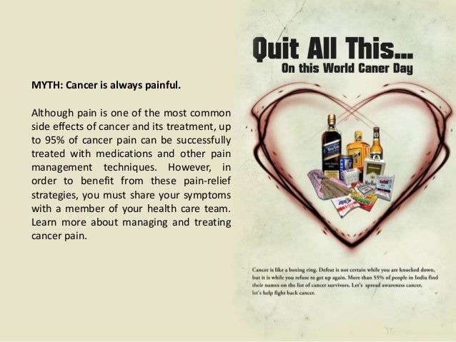 Myths about cancer treatmentsMYTH: Drug companies, thegovernment, and the medicalestablishment are hiding a cure forcancer...