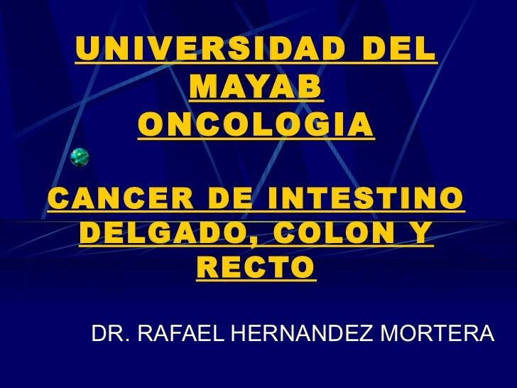 UNIVERSIDAD DEL      MAYAB   ONCOLOGIACANCER DE INTESTINO DELGADO, COLON Y      RECTO DR. RAFAEL HERNANDEZ MORTERA