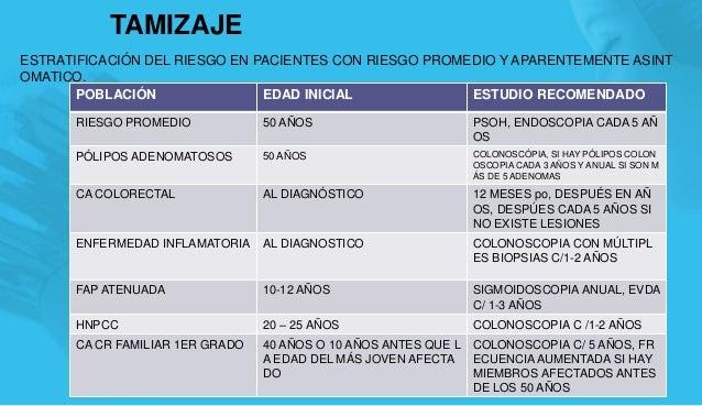 TAMIZAJE ESTRATIFICACIÓN DEL RIESGO EN PACIENTES CON RIESGO PROMEDIO Y APARENTEMENTE ASINT OMATICO. 14 POBLACIÓN EDAD INIC...