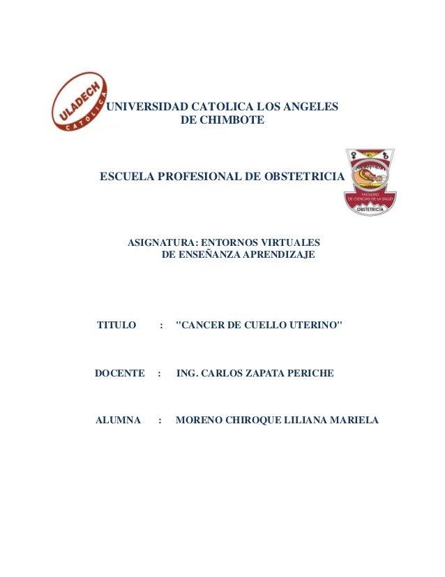 UNIVERSIDAD CATOLICA LOS ANGELES DE CHIMBOTE ESCUELA PROFESIONAL DE OBSTETRICIA ASIGNATURA: ENTORNOS VIRTUALES DE ENSEÑANZ...