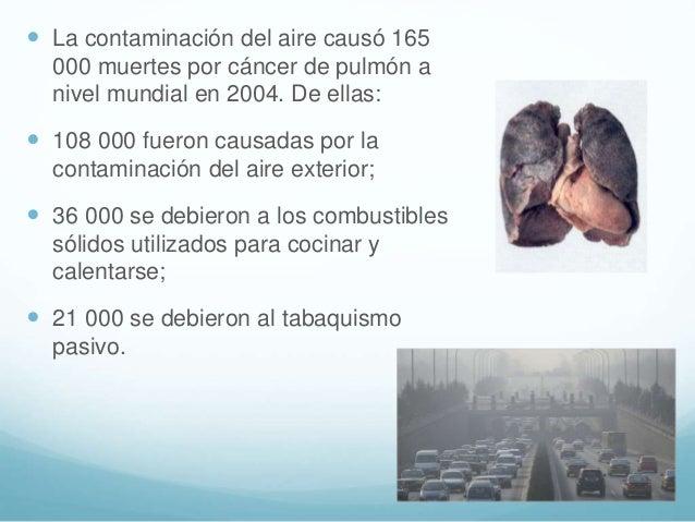  La contaminación del aire causó 165 000 muertes por cáncer de pulmón a nivel mundial en 2004. De ellas:  108 000 fueron...
