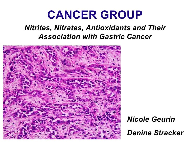 CANCER GROUP Nicole Geurin Denine Stracker Nitrites, Nitrates, Antioxidants and Their Association with Gastric Cancer