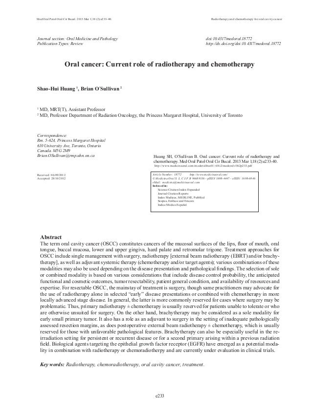 Med Oral Patol Oral Cir Bucal. 2013 Mar 1;18 (2):e233-40. Radiotherapy and chemotherapy for oral cavity cancere233Journal ...