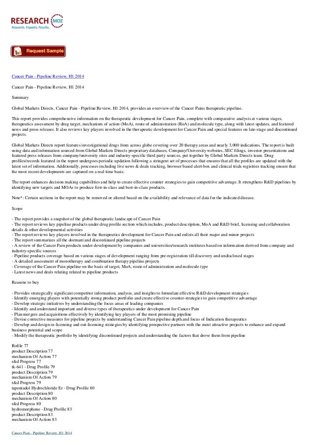 Cancer Pain - Pipeline Review, H1 2014 Cancer Pain - Pipeline Review, H1 2014 Summary Global Markets Directs, Cancer Pain ...